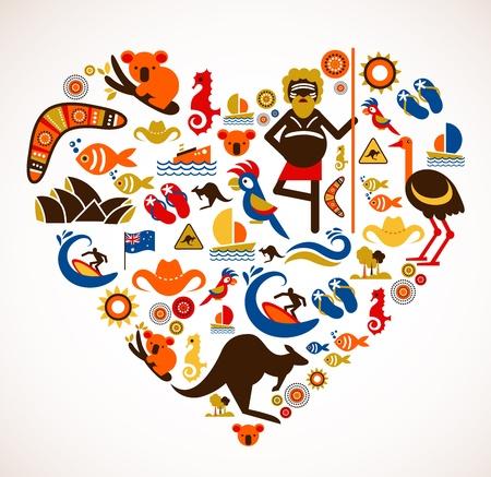 Vektor für Australia love - heart with set  - Lizenzfreies Bild