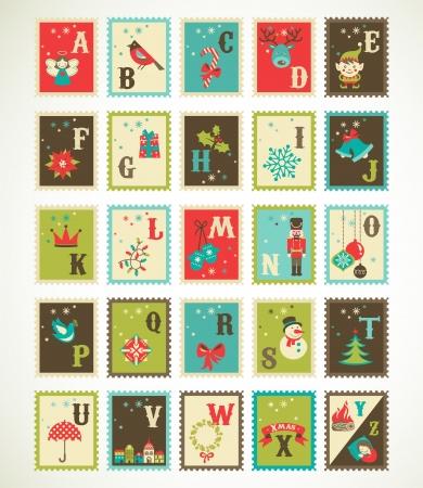Foto de Christmas retro alphabet with cute  xmas icons - Imagen libre de derechos