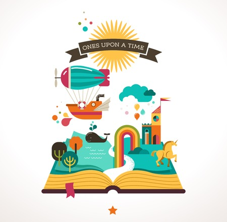 Illustration for Open book with fairy tale elements and  icons - Royalty Free Image