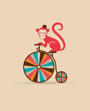 vintage poster with monkey on unicycle, fun fair, circus vector background