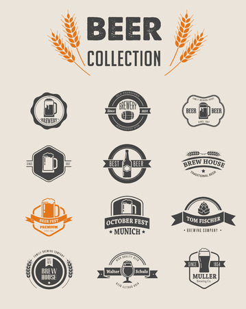 Illustration pour Collection of flat vector Beer icons and elements - image libre de droit