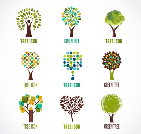 Illustration pour Collection of green tree - logos and icons - image libre de droit
