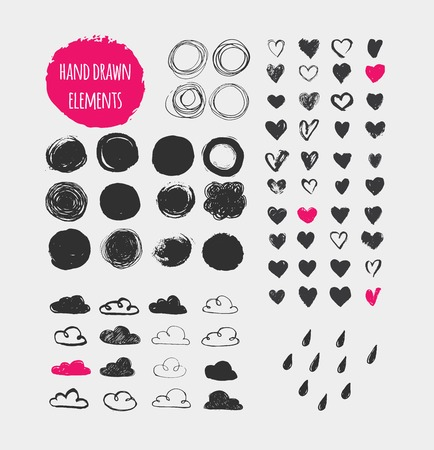 Illustration pour Hand drawn shapes, icons, elements and hearts - image libre de droit