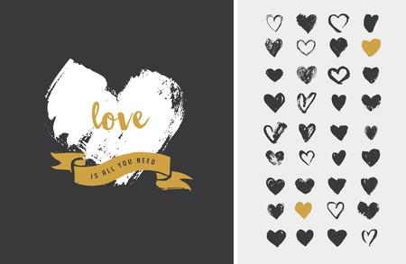 Ilustración de Heart Icons, hand drawn icons for valentines and wedding - Imagen libre de derechos