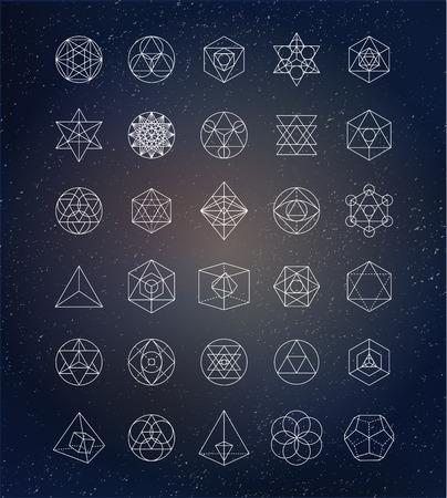 Ilustración de Sacred geometry. Alchemy, spirituality icons - Imagen libre de derechos