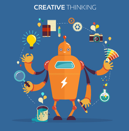 Cute multitasking robot - graphic design and creative thinking