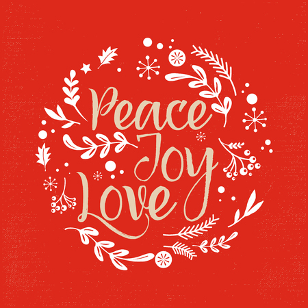 Illustration pour Merry Christmas Background with Typography, Lettering. Greeting card - Peace, Joy, Love - image libre de droit