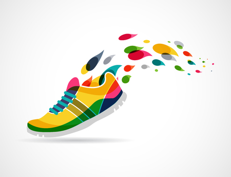 Colorful vector poster - running and sportのイラスト素材