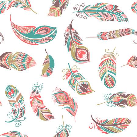 Bohemian, ethnic style feathers seamless pattern