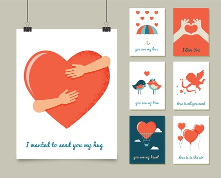 Illustration for Valentine's day greeting cards, modern collection - Royalty Free Image