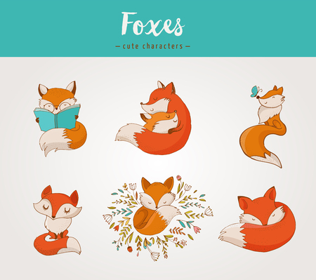 Illustration for Fox characters cute, lovely illustrations - greeting cards - Royalty Free Image