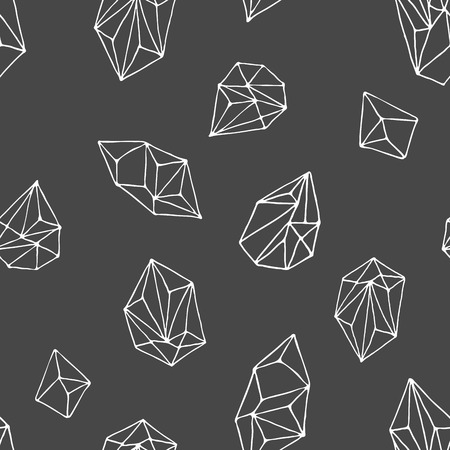 Illustration for Crystals - seamless hand drawn modern pattern - Royalty Free Image