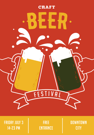 Beer festival. Poster of event with glasses and hands