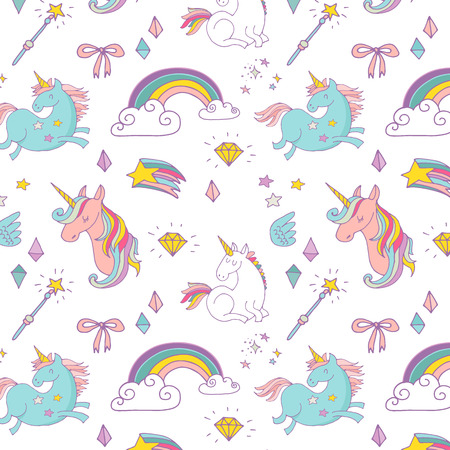 Illustration pour the Magic hand drawn pattern with unicorn, rainbow in pastel colors - image libre de droit