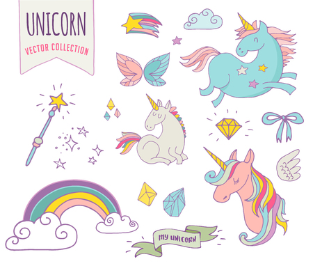 Illustration pour cute magic collection with unicon, rainbow, fairy wings and stars - image libre de droit