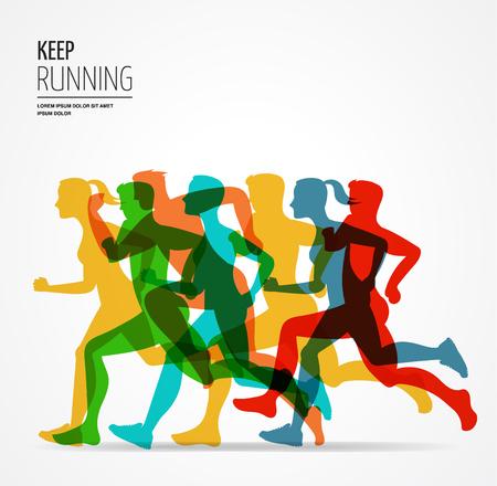 Illustration pour Running marathon, people run, colorful poster and background - image libre de droit