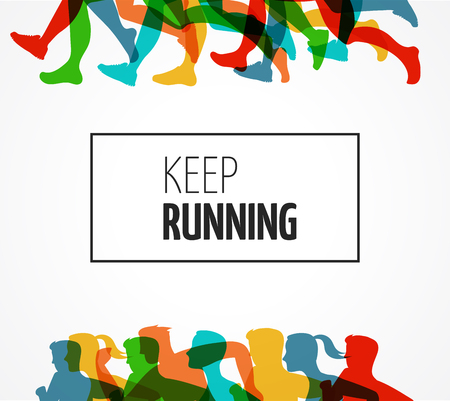 Illustration pour Running marathon, people run, colorful poster and background - image libre de droit