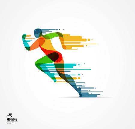 Ilustración de Running man, sport colorful poster, icon with splashes, shapes and symbol - Imagen libre de derechos