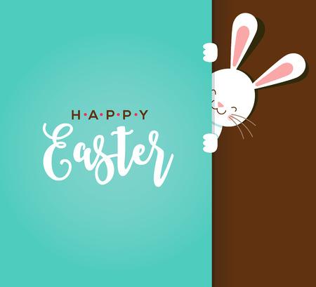 Ilustración de Colorful Happy Easter greeting card with rabbit, bunny, eggs and banners, tags, labels - Imagen libre de derechos