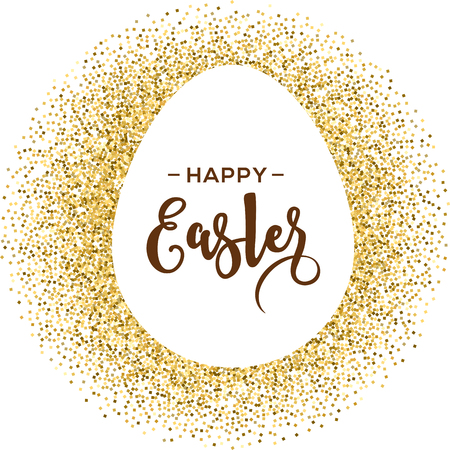 Illustration for Happy Easter greeting card with gold egg with lettering - Royalty Free Image