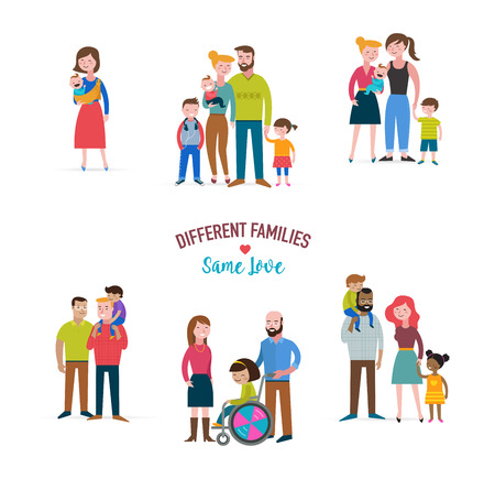 Illustration for gay family, different kind of families, special needs child, blended coulpe - Royalty Free Image