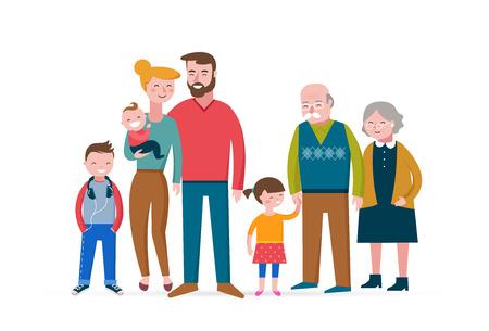 Illustration pour Happy family, making fun, couple with children, baby and grandparens - image libre de droit