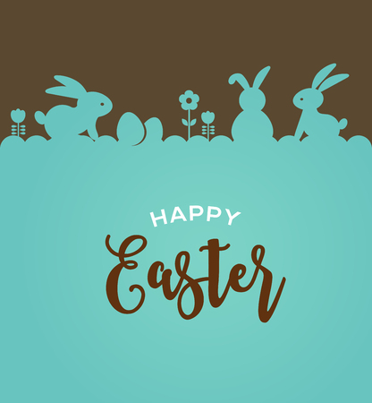 Illustration pour Easter design with cute banny and lettering, hand drawn vector illustration - image libre de droit