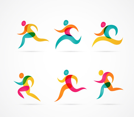 Illustration pour Running marathon colorful people icons and elements - image libre de droit