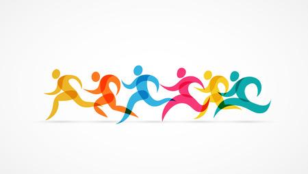 Ilustración de Running marathon colorful people icons and elements - Imagen libre de derechos