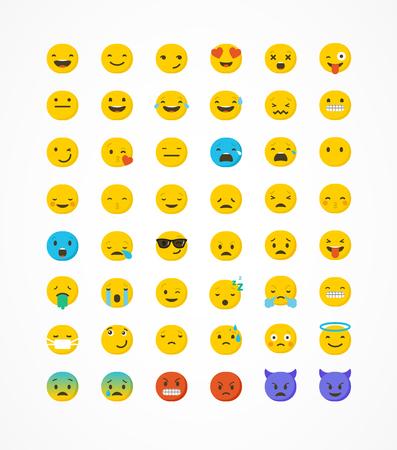Ilustración de Emoticon vector icons set. Emoticon face on a white background. Emoticon icon. Different emotions collection. Emoticon flat design - Imagen libre de derechos