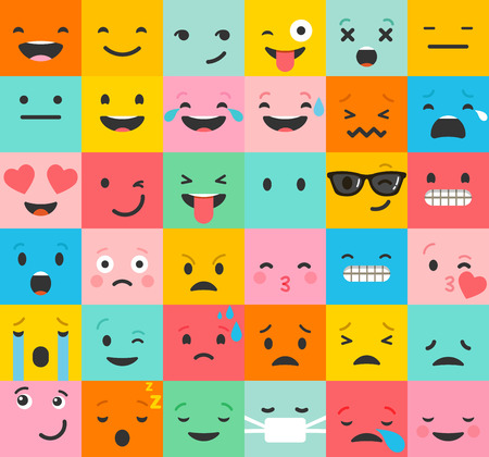 Emoticon colorful vector icons set. Emoticon faces , set of icons. Different emotions collection. Emoticon flat pattern designのイラスト素材