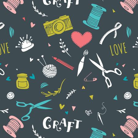 Illustration pour Handmade, crafts patterns and vector hand drawn background - image libre de droit