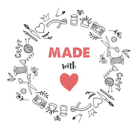 Illustration pour Handmade, crafts workshop, art fair and festival poster, flyer - image libre de droit