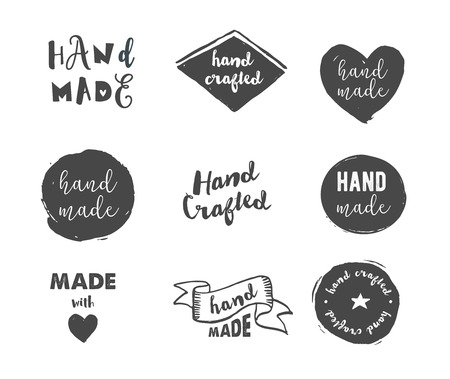 Illustration pour Handmade, crafts workshop, made with love icons and badges - image libre de droit