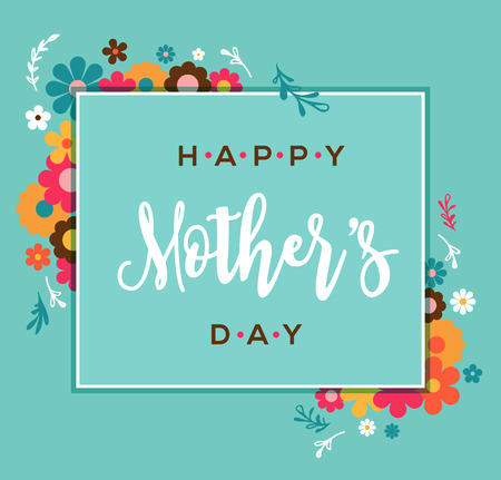 Illustration for Happy Mother's Day greeting card and lettering, typography design - Royalty Free Image