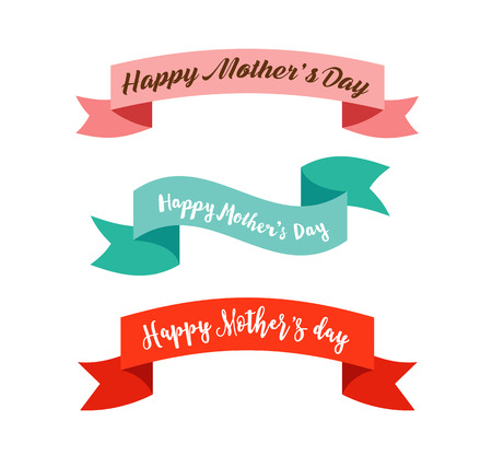Illustration for Happy Mother's Day ribbons, banners and elements - Royalty Free Image