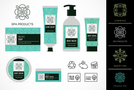 Set of natural cosmetics design packaging, icons, paraben free, organic bio product, not tested on animals