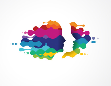 Ilustración de Brain, smart, Creative mind, learning and design icons. Man head, people colorful symbols - Imagen libre de derechos