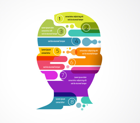 Illustration pour Brain, smart, Creative mind, learning, intelligence and design icons. Man head, colorful infographics - image libre de droit