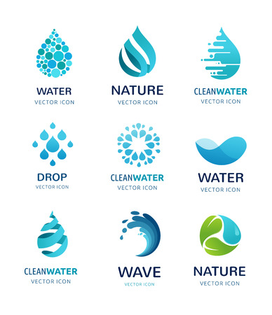 Ilustración de set of water, wave and drop icons, symbols - Imagen libre de derechos