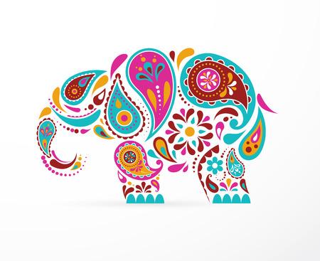Illustration pour India - parsley patterned elephant, oriental Indian icon and illustration - image libre de droit