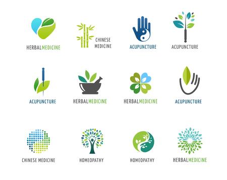 Vektor für Alternative, Chinese medicine and wellness, yoga, zen meditation concept - vector icons, logos - Lizenzfreies Bild