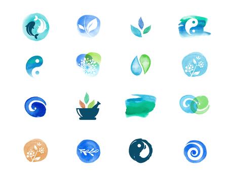 Ilustración de Alternative medicine and wellness, yoga, zen meditation concept - vector watercolor icons, logos - Imagen libre de derechos