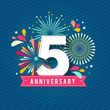 Illustration pour Anniversary fireworks and celebration background, set of numbers - image libre de droit