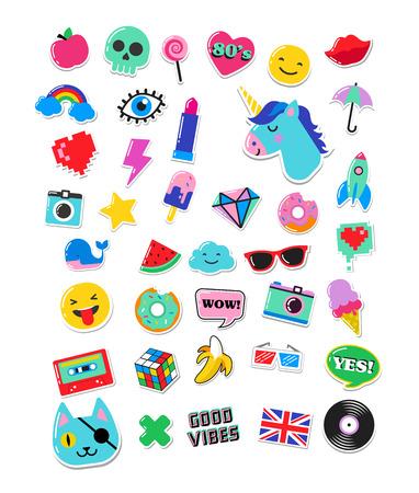 Illustration pour Pop art fashion chic patches, pins, badges, cartoons and stickers - image libre de droit