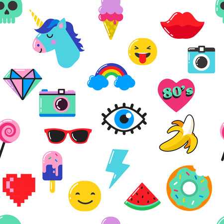 Illustration for Pop art fashion chic seamless pattern with patches, pins, badges, icons and stickers - Royalty Free Image