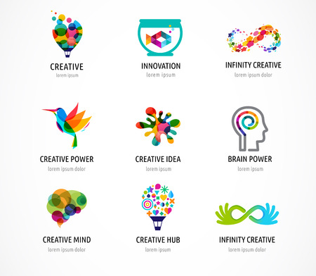 Illustration pour Creative, digital abstract colorful icons, elements and symbols, logo collection, template - image libre de droit