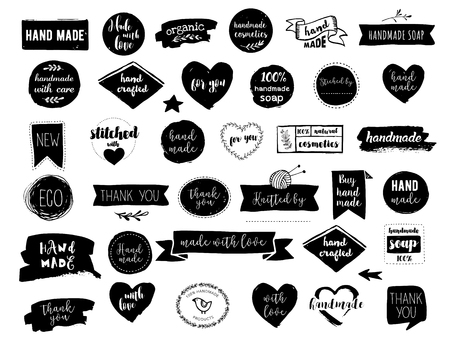 Illustration pour Hand drawn vector - handmade, craft, knitting and art labels, tags with lettering - image libre de droit