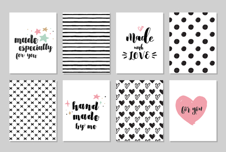 Illustration pour handmade, craft, knitting and art cards, tags with lettering, seamless hand drawn patterns - image libre de droit