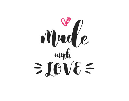 Illustration pour Made with love - crafters and artists modern inspirational and motivational quote, overlay lettering design, poster - image libre de droit